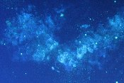 A super close look at a blue nebula, seen under blacklight.  Painted on deluxe film poster.